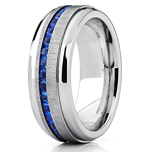 Amazoncom Mens Eternity Titanium Wedding Band Engagement Ring W