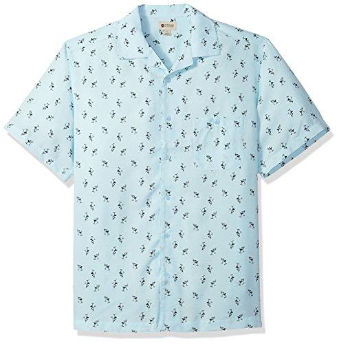 Shirt Short Martini Sleeve - Haggar Men's Short Sleeve Texture Printed Shirts, Clear Water/Martini, XL