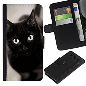 LASTONE PHONE CASE / Lujo Billetera de Cuero Caso del tirón Titular de la tarjeta Flip Carcasa Funda para Samsung Galaxy S3 III I9300 / Black Cat Eyes Bombay Chartreux