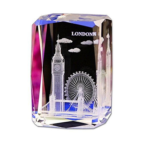 - Crystal Glass Cube Eagle Model Paperweight 3D Laser Engraving Figurines Feng Shui Souvenirs Crafts (London)
