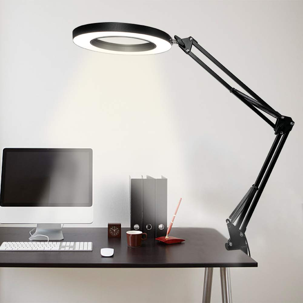 Swing Arm Lamp, LED Desk Lamp with Clamp, Dimmable Architect Task Lamp, Eye-Caring 3 Color Modes Drafting Table Lamp Office Light Ring Light for Study, Reading, Crafts, Studio, Workbench Black