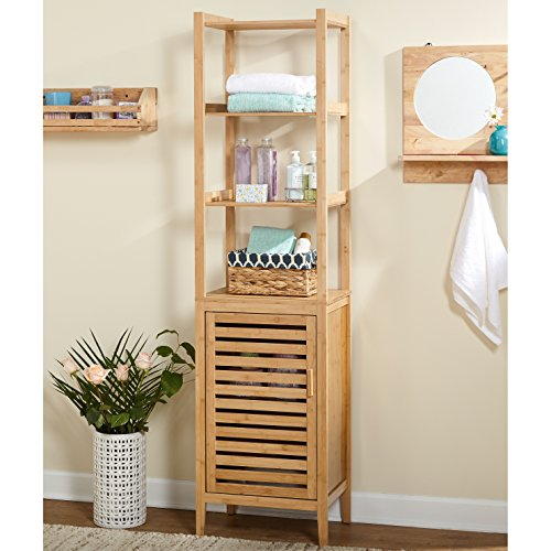 Modern Transitional Linen Storage Tower with 3 Shelves and 1 Cabinet - Includes Modhaus Living (Linen Tower Base)