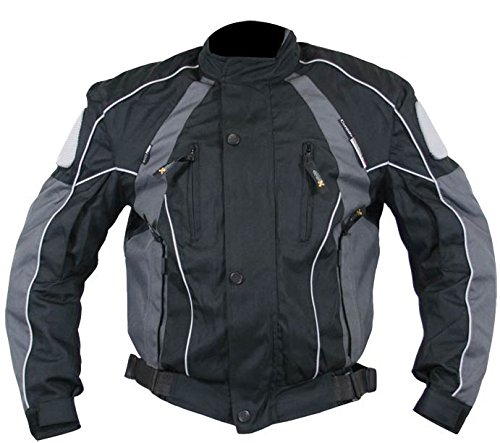 Jacket Tex Leather Mesh (Xelement Armored Mens Gray/Black Textile Jacket - Large)