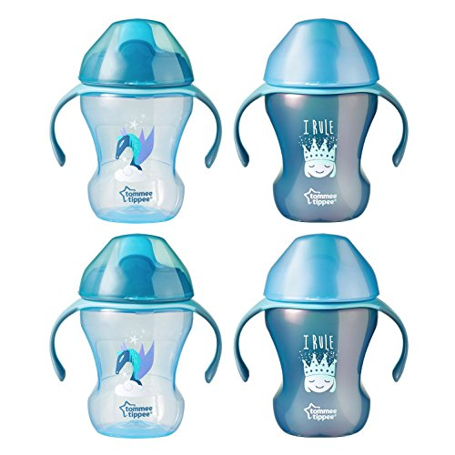 Tommee Tippee Infant Trainer Transition Sippee Cup, 7+ Months, Boy - 8 Ounces, 4 Count