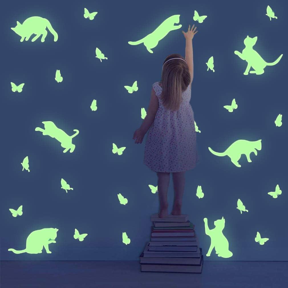 TOARTi Lovely Glow in The Dark Cat Wall Decal, Adorable Butterflies Wall Sticker,Animal Silhouette Wall Art, Luminous Cute Kitty Wall Art for Window Nursery Kids Bedroom Decor(46pcs)