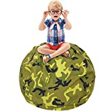 CALA Stuffed Animal Storage Bean Bag Chair- EXTRA LARGE 38'' Kids Soft Toy Storage - 100% Cotton Canvas Bean Bag Chair(Army Green)