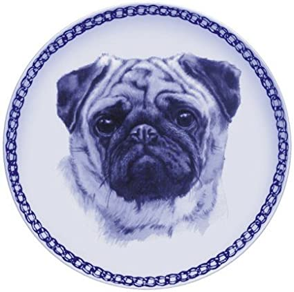 Dog Plate In Porcelain Pug Amazon Co Uk Kitchen Home