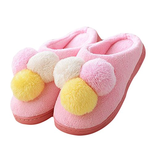 Cosanter Soft Slippers Cute Pom Pom Flannelette Cotton Sleep Shoes for Indoor f9QIdJ