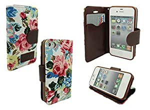 IPHONE 4 WALLET CASE, MOBILE KING USA iPhone 4/4s Jean Leather Wallet Credit Card Case Holder (White Denim Floral)