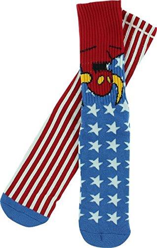 Toy Machine American Monster Crew Socks [Red/White/Blue] Single (Toy Machine Monster Socks)