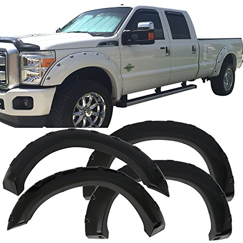 Fender Flare Fits 2011-2018 Ford F250&F350 Super Duty | Pocket Rivet Style ABS Wheel Protector Protection Guards Cover by IKONMOTORSPORTS | 2012 2013 2014 2015