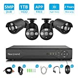 Security Camera System, NexTrend 8CH 5MP DVR Security Camera System with 4pcs Full HD 1920TVL Indoor Outdoor Weatherproof CCTV Cameras 1TB Hard Drive Motion Alert Night Vision Easy Remote Access