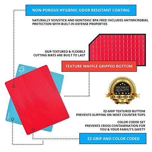 Extra Thick Flexible Plastic Cutting Board Mats With Food Icons &''EZ-Grip'' Waffle Back, 4 packs by Cooler Kitchen (Image #4)