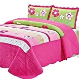 Abreeze Floral Printed Quilt Bedspread Comforter Set Summer Air-Conditioning Quilt Queen Bedding,Rose Red