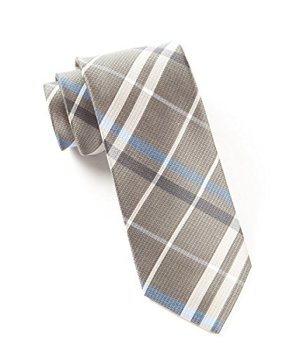 The Tie Bar 100% Silk Light Taupe and Powder Blue Barnegat Plaid 2.5 Inch Tie
