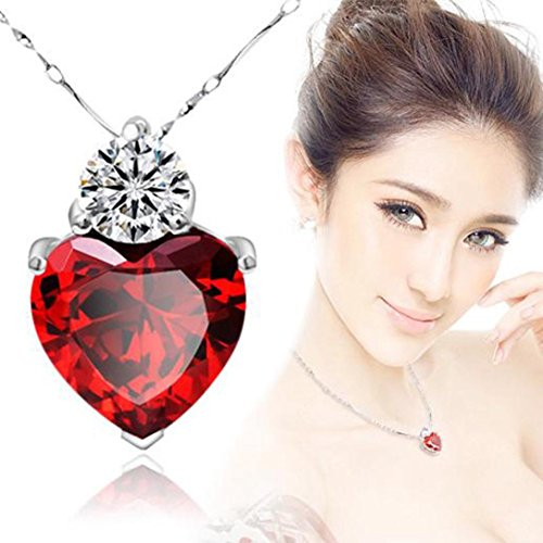 Sinfu® Necklace For 1PC 925 Silver Red Garnet Heart Crystal Pendant Necklace Valentine Gift Jewelry Accessories Collectors Gift (Chain length: 20+6.5cm, Red) Chokers Garnet Pendants
