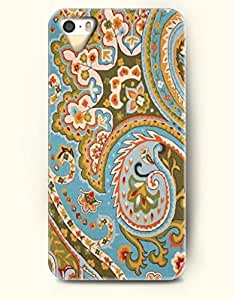 SevenArc Apple iPhone 5 5S Case Paisley Pattern ( Colorful Buteh Flowers in Sky Blue Background )