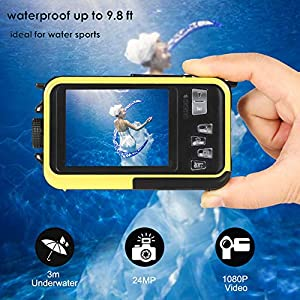 Underwater Camera Full Hd 1080P Waterproof Digital Camera 24.0MP Underwater Digital Camera Self Point and Shoot Dual Screen Waterproof Camera from COMI