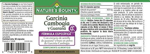 Natures Bounty Garcinia Cambogia y Guaraná - 60 Cápsulas: Amazon.es: Salud y cuidado personal