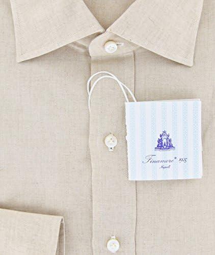 Finamore Napoli Beige Solid Button Down Spread Collar Linen Slim Fit Dress Shirt Size Medium 16