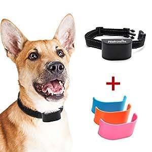 Nakosite BARK2433 El Mejor Collar Antiladridos Perros Pequeños medianos y grandes, Collar adiestramiento perros. Utiliza sonidos y vibraciones audibles. SIN CHOQUES ELECTRICOS. Chip Avanzado con 7 Niveles Ajustables de Sensibilidad. Correa de cuello de nylon flexible y ajustable. El color es negro. Interruptor encendido/apagado. PRIMA: GRATIS 3 Placas de Cubierta.