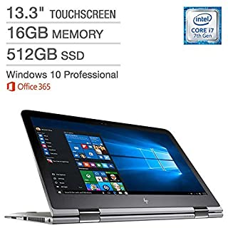 "HP ENVY x360 13.3"" Touchscreen IPS WLED-backlit QHD+ (3200 x 1800) Intel 7th Gen Core i7-7500U, 16GB RAM, 512 GB SSD, Windows 10 Professional Microsoft Office 365 1 Year (Certified Refurbished)"