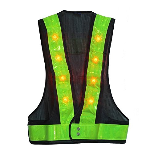 Illuminated Safety Vest - YOA 16 LED Light up Cycling Traffic Outdoor Night Safety Warning Vest