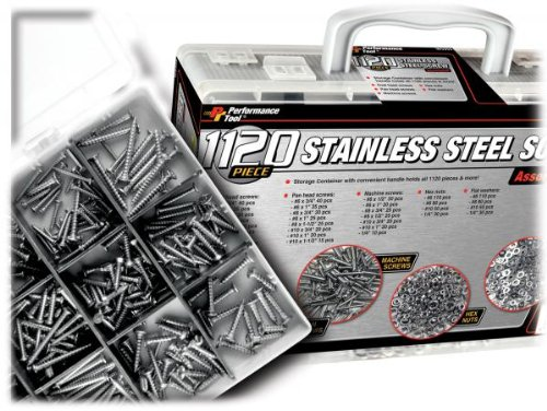 Performance Tool W5355 1,120pc Hardware Assortment (Pan Heads, Oval Head & Machine Screws, Hex Nuts & Flat Washers) by Performance Tool (Image #1)