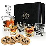 YKing Whiskey Decanter Set in Premium Gift Box with 4 Glasses and 4 Coasters- Whiskey Brandy Tequila Bourbon Scotch Rum Vodka Decanter Set with Glasses- Glass Decanter Set ..