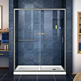 walk in shower dimensions DreamLine Infinity-Z 36 in. D x 60 in. W Kit, with Sliding Shower Door in Brushed Nickel and Right Drain White Acrylic Base