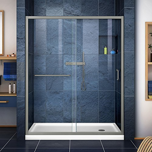 DreamLine Infinity-Z 36 in. D x 60 in. W Kit, with Sliding Shower Door in Brushed Nickel and Right Drain White Acrylic Base