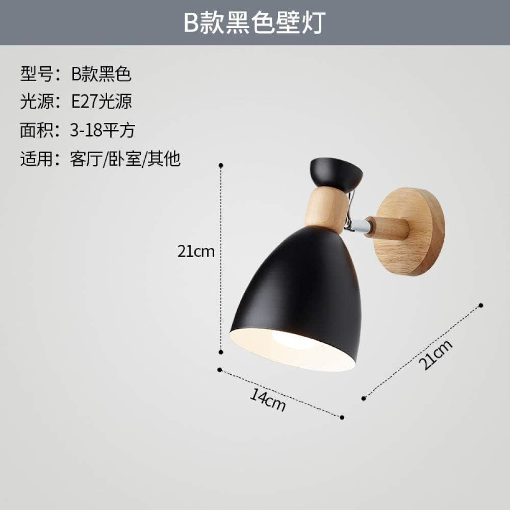 Iluminación creativa de madera estudio pasillo lámpara de pared B negro luz blanca: Amazon.es: Iluminación
