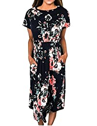 Women Casual Short Sleeve Floral Print Loose Dress Crewneck Midi Dresses