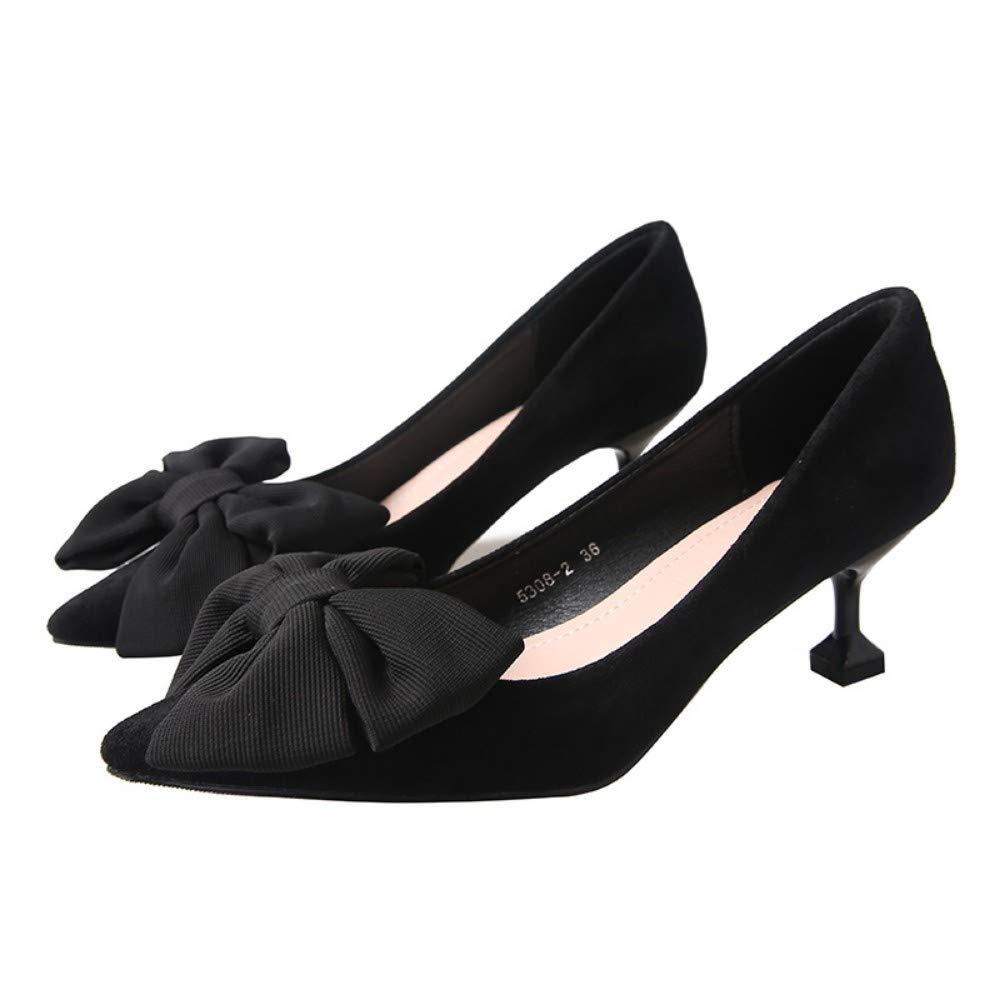 AJUNR Femmes Loisirs Nouveau Style 5.5Cm des Talons Hauts des Chaussures De Femme Noeud Papillon Cat Talon Moyen Et Bon Talon Tous Ensembles noir 39 EU