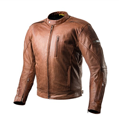 SHIMA Hunter Mens Vintage Leather Motorcycle Jacket With Armor - Brown/Large Dark Brown Leather Motorcycle