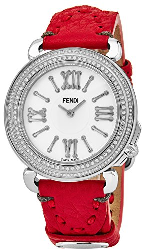 Fendi Selleria Womens Stainless Steel Real Diamond Watch - Mother of Pearl Face Red Leather Strap Swiss Vintage Dress Watch for Women with Interchangeable Fashion Band (Face Diamond Watch)