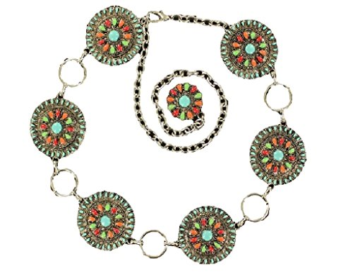 Nocona Women's Colorful Concho Chain Belt Multi X-Large (Nocona Concho)
