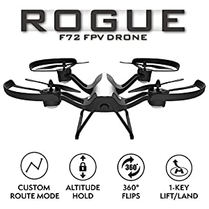 "Force1 F72 Drone with Camera - ""Rogue"" Wifi FPV 720p HD Camera Drone with 1 Key Takeoff Landing and 360° Tricks Quadcopter from Gtang"