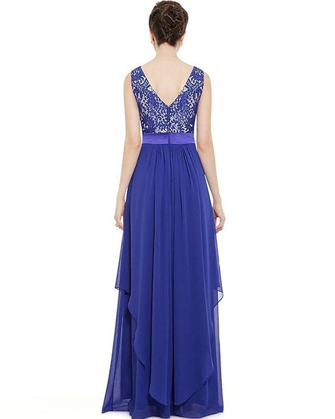 9dfcfe63acc9 Quge Donna Elegante Vestiti Da Matrimonio Pizzo Abito In Chiffon Lunghi  Vestito Formale Banchetto Sera: Amazon.it: Abbigliamento