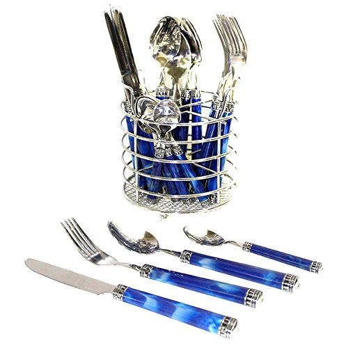 Nature Home Decor Rainbow Elite Collection Stainless Steel Flatware Set With Blue Marble Design Handles (Case of 24)