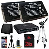 Two Canon EOS M 18 MP CMOS Mirrorless Digital SLR Camera LP-E12 Lithium Ion Replacement Battery + 32GB SDHC Class 10 Memory Card + Full Size Tripod + SDHC Card USB Reader + Memory Card Wallet + Deluxe Starter Kit Bundle DavisMAX EOS M Accessory Kit