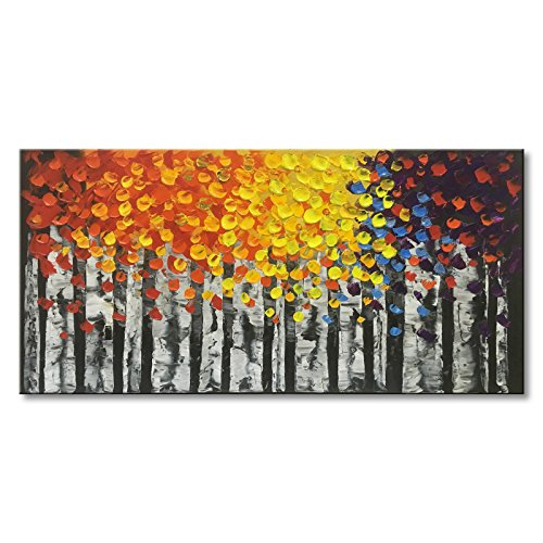 """Konda Art Framed Hand Painted Landscape Tree Oil Painting Gallery Wrapped Modern Abstract Canvas Wall Art for Home Decorations (48"""" W x 24"""" H)"""