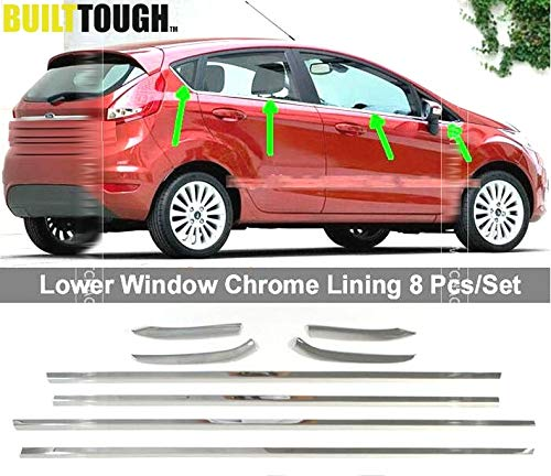 Exterior Parts 8Pcs For Ford Fiesta 5Dr Hatchback Mk7 2009-2017 Stainless Steel Chrome Side Door Window Cover Sill Trim Molding Surround 2010 (Best Sander For Window Sills)
