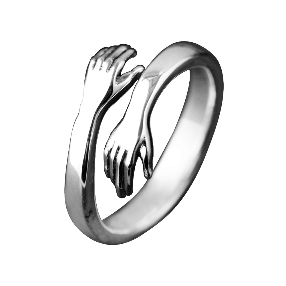 BALMORA 925 Sterling Silver Rings for Women Girls Silver Hugging Hands Open Ring Jewelry (7)