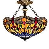 16C Tiffany Ceiling Light Fixture Semi Flush Ceiling Lamp 16 Inch Stained Glass Shade for Dinner Room Pendant 2 Light (S168 Series)