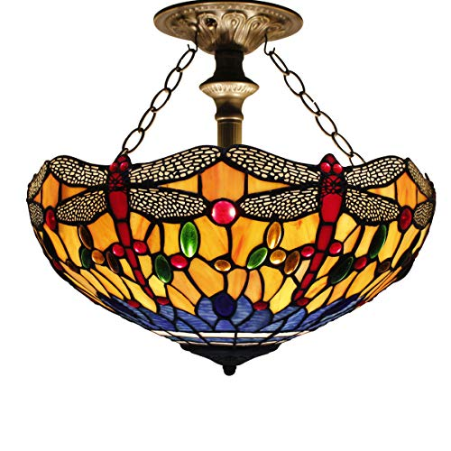 16C Tiffany Ceiling Light Fixture Semi Flush Ceiling Lamp 16 Inch Stained Glass Shade for Dinner Room Pendant 2 Light (S168 - Inch Stained 16 Lamp Glass