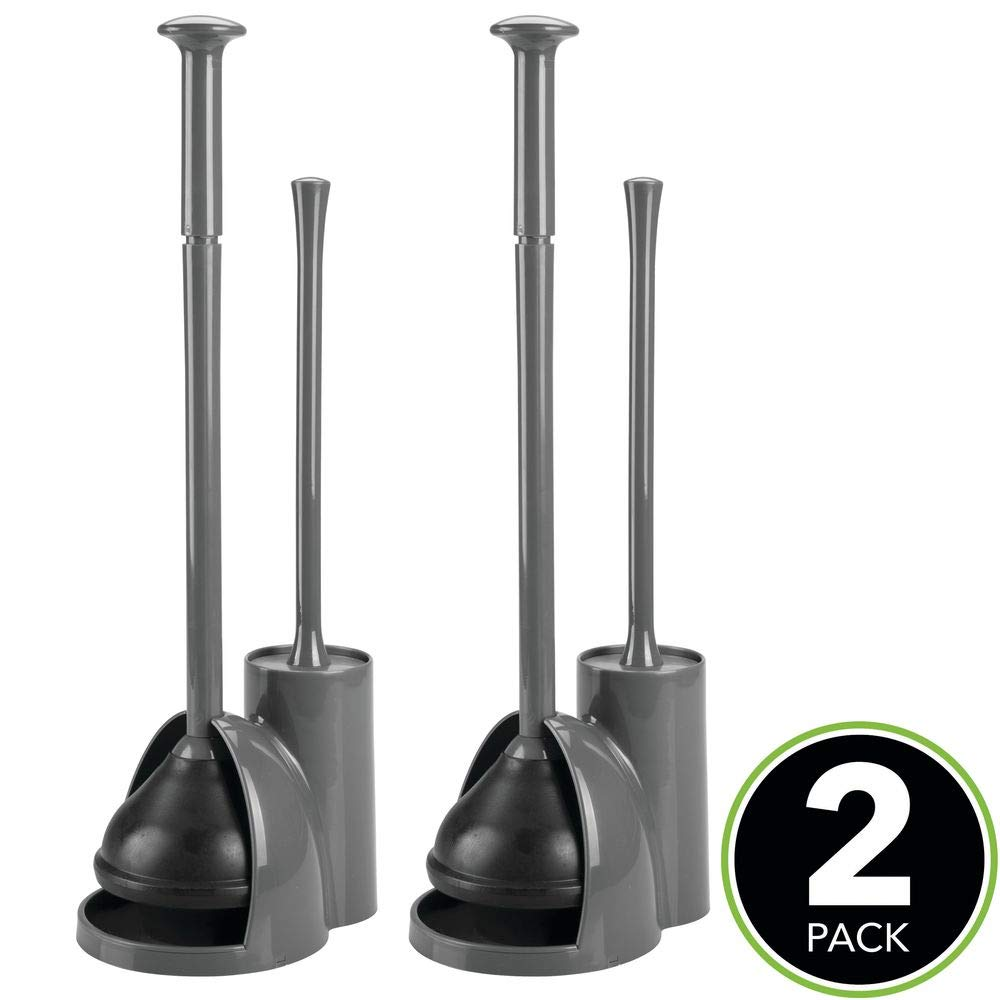 mDesign Modern Slim Compact Freestanding Plastic Toilet Bowl Brush Cleaner and Plunger Combo Set Kit with Holder Caddy for Bathroom Storage and Organization - Covered Lid Brush, 2 Pack - Charcoal Gray by mDesign (Image #3)