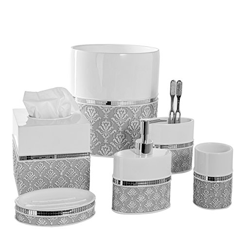 Creative Scents Mirror Damask 6-piece Bathroom Accessory Set- Includes Decorative Soap Dispenser/Soap Dish/Tumbler/Toothbrush Holder/Tissue Cover/Wastebasket (Gray & White) by Creative Scents