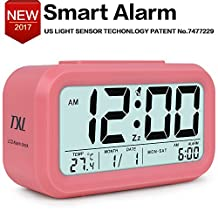 Easy to Set Alarm Clock,Large-Display Digital Alarm Clock with Optional Backlight,Kids' Room Clocks, Month, Date, and Temperature Display,Pink