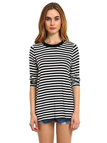 ROMWE Women's Long Sleeve Tops Round Neck Loose Basic Striped T-shirt Black (Stripe T-shirt)